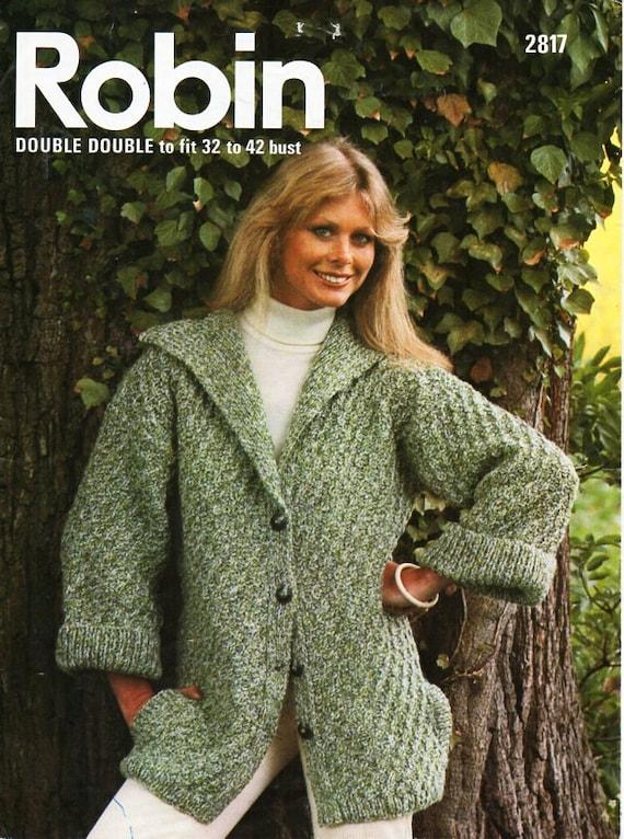 Ladies Jacket Knitting Pattern Pdf Download Womens Chunky Coat Etsy