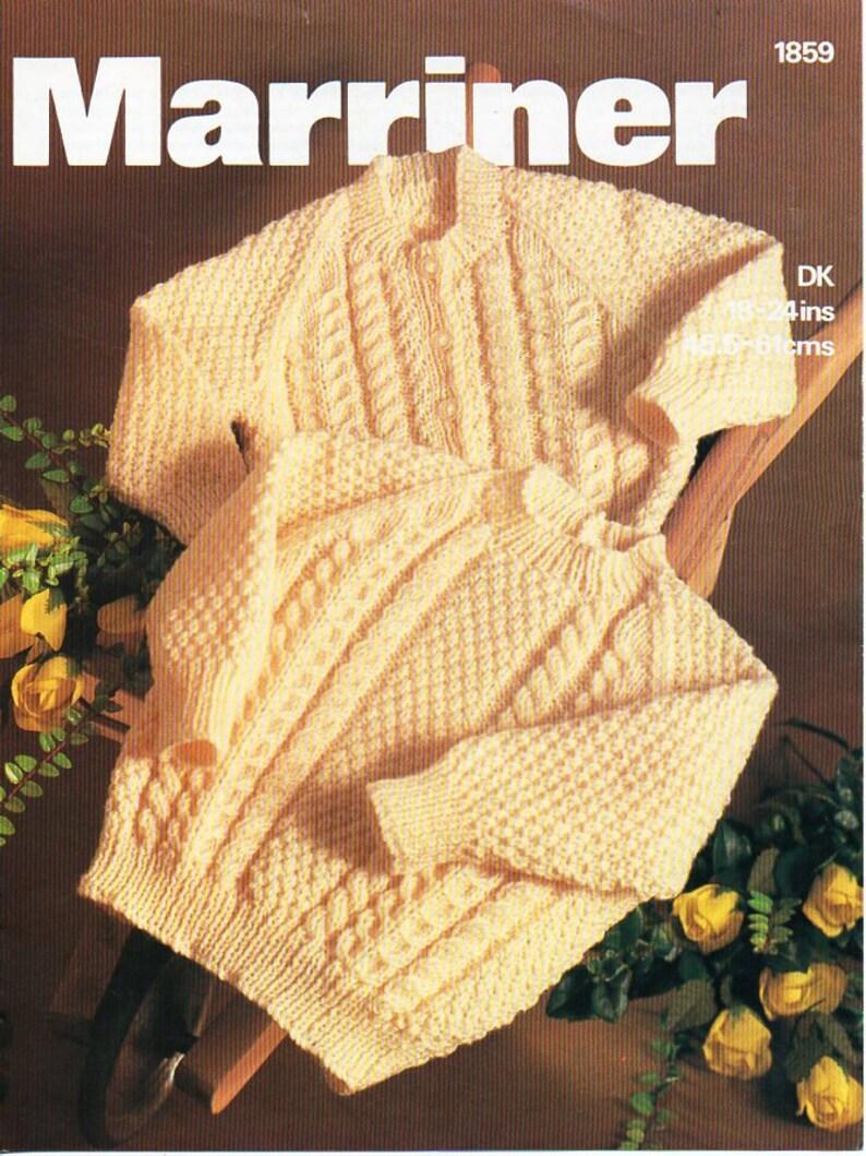 32c0fcdff9d9 Vintage baby aran cardigan and sweater knitting pattern pdf