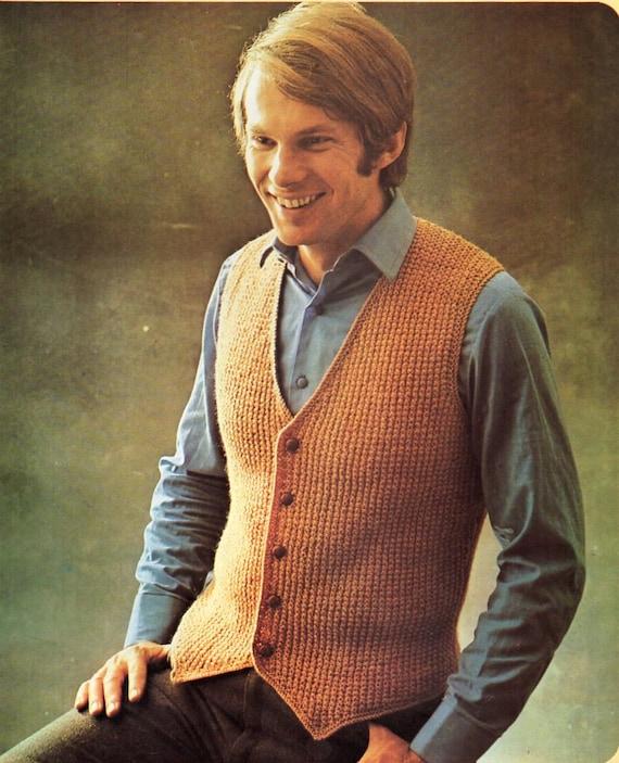 Mens Waistcoat Knitting Pattern Pdf Dk Mens V Front Vest Suit Etsy