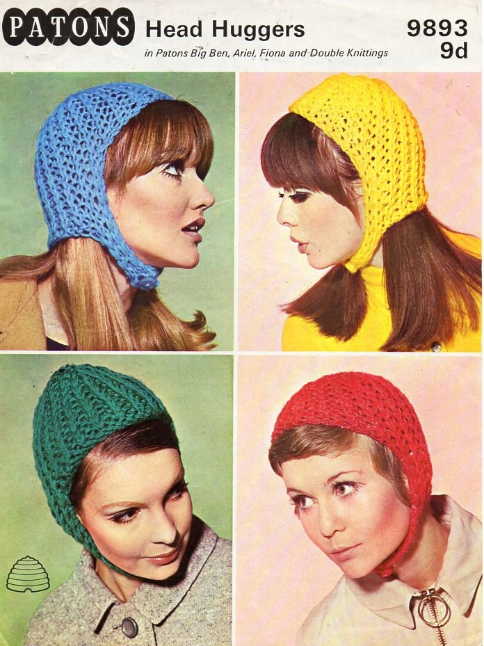 Womens hats knitting pattern PDF womens helmets caps Vintage | Etsy