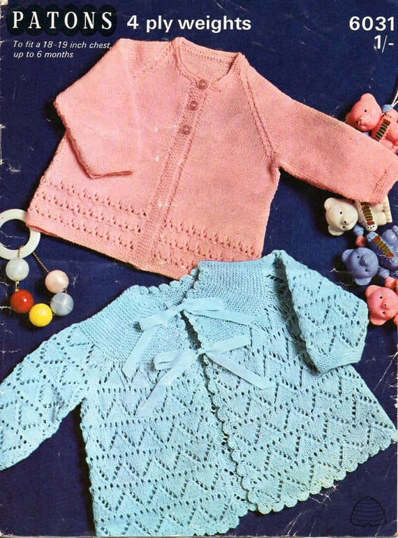 COPY Baby crochet pattern 2 MATINEE COATS 4ply 6 to 9 months