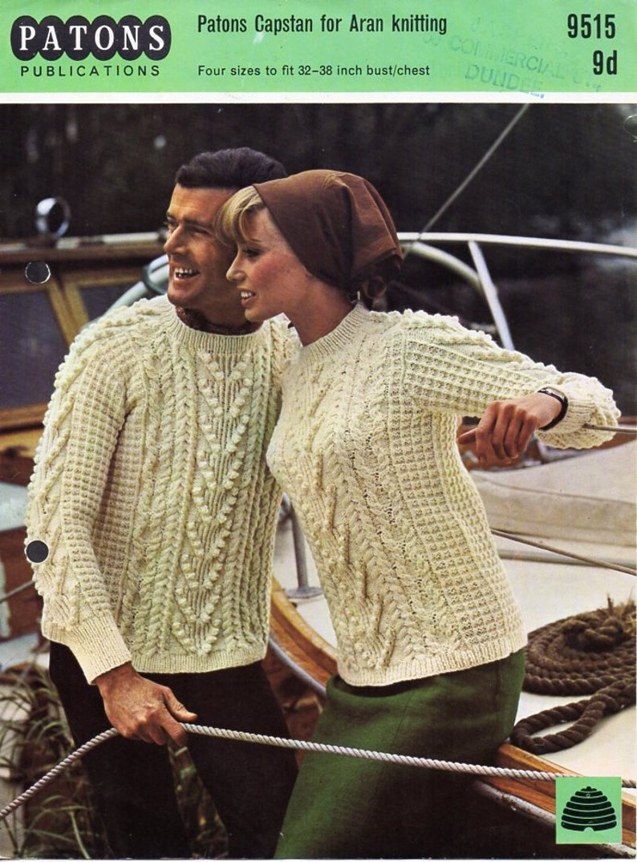 c32a97506ed5e Womens   mens aran sweater knitting pattern pdf ladies aran