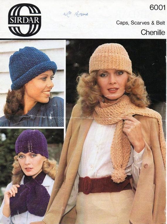 bf07906958e Womens chenille caps scarves belt sets knitting pattern pdf