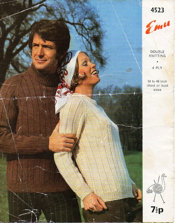 womens   mens sweater knitting pattern PDF DK or 4 ply ladies  dff504611