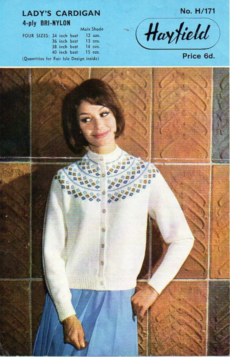 Vintage Knitting Pattern Lady/'s 1950s Fitted Cardigan 34 to 38 Inch Bust.