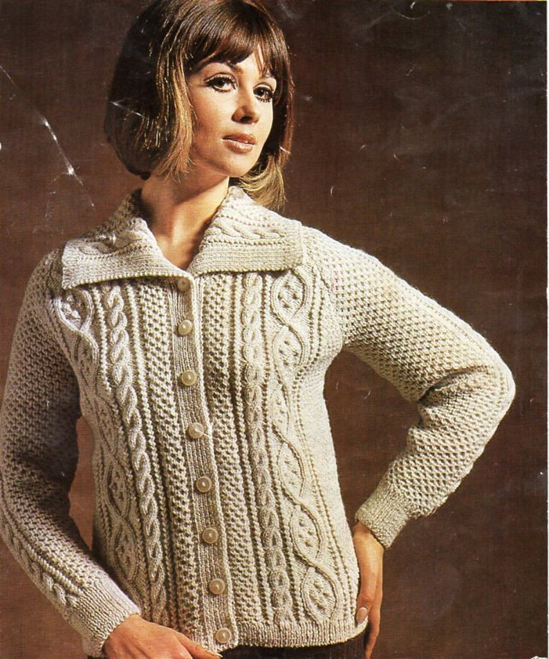 87089e6b4 Vintage womens aran jacket knitting pattern pdf ladies cable