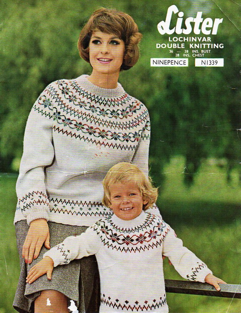 42fdd2325ee77 Womens childrens fair isle sweater knitting pattern pdf ladies