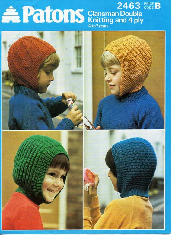 19f1a51b8d1 childrens hats knitting pattern pdf 4ply   DK childs helmets balaclava 4-7  years 4ply DK 8ply light worsted instant Download