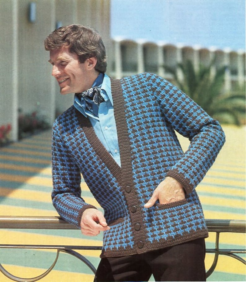 36bf9a1657fe56 Vintage mens crochet cardigan crochet pattern pdf mans crochet
