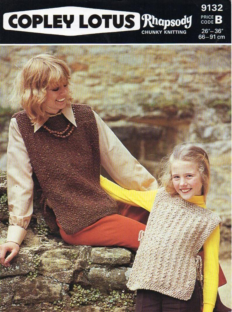 541d85b0e76ec Ladies tabard knitting pattern pdf womens chunky tunic Vintage