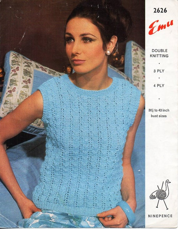 ladies top knitting pattern pdf 3ply 4ply or DK womens lacy | Etsy