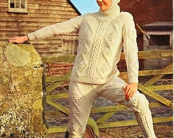 "Womens aran sweater knickerbockers oversocks helmet knitting pattern PDF womens aran jumper Vintage 70s 34-41"" aran worsted 10ply download"