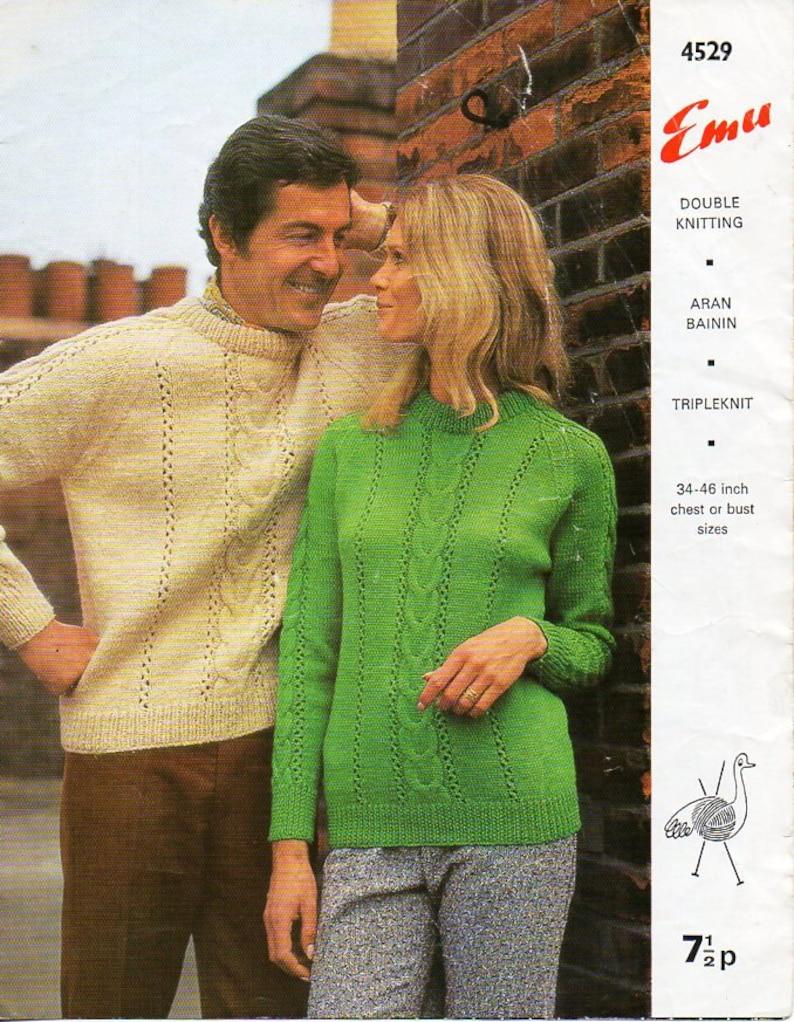 f1cdcbcc4 Vintage womens   mens sweater knitting pattern PDF DK aran