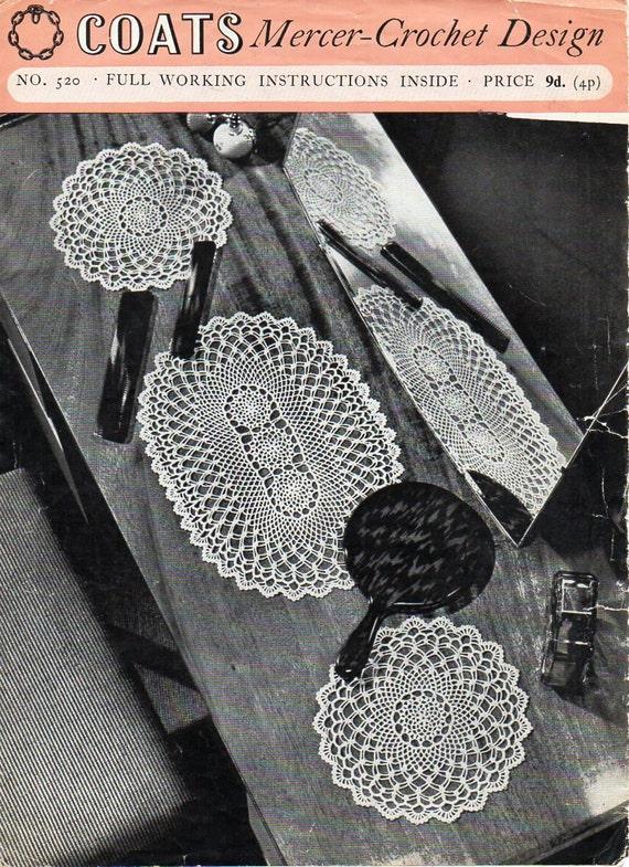 Vintage Crochet Doily Crochet Pattern Pdf Crochet Cheval Set Etsy