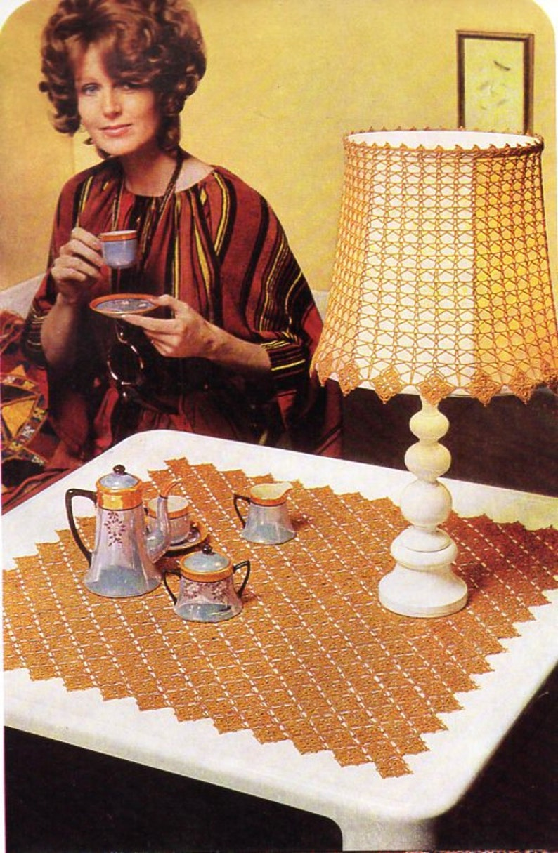 Vintage crochet lampshade cover coffee table mat crochet image 0