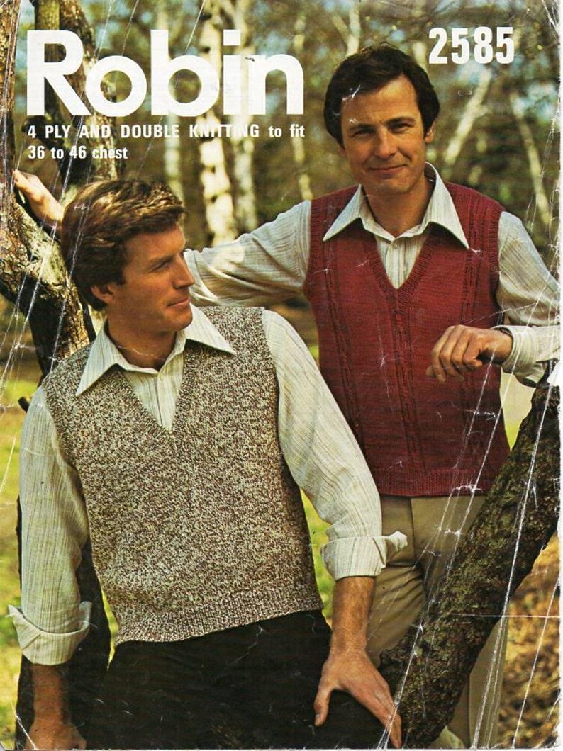 8b1b6b180207 Mens knitting pattern PDF mens slipover pullover 4ply or DK v