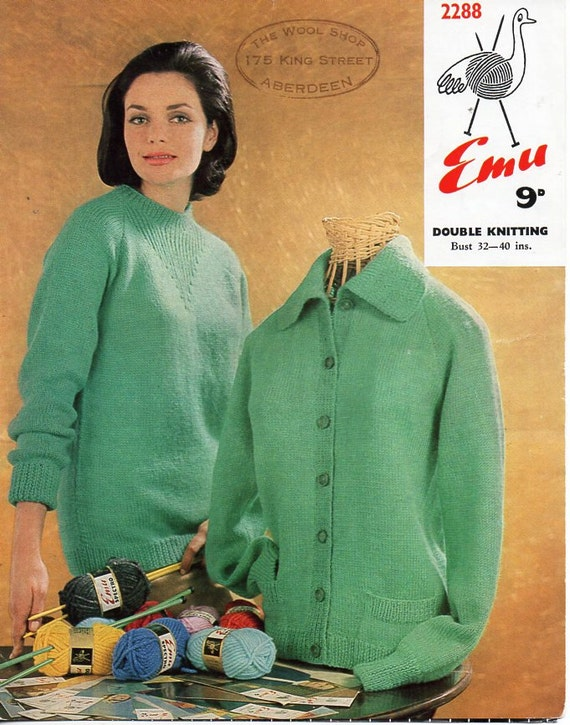 Vintage ladies sweater collar jacket knitting pattern PDF DK | Etsy