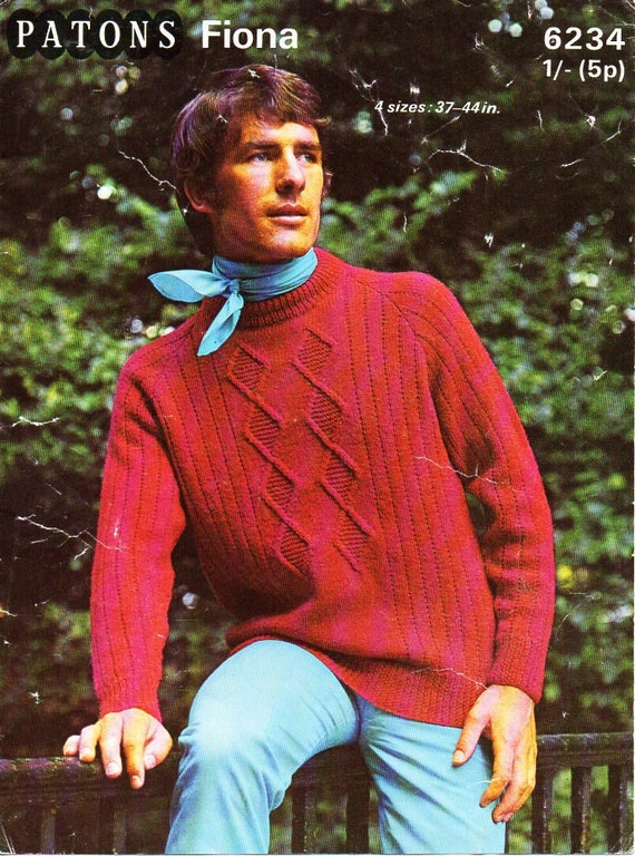 db71d1994371 vintage mens sweater knitting pattern pdf mens cable jumper