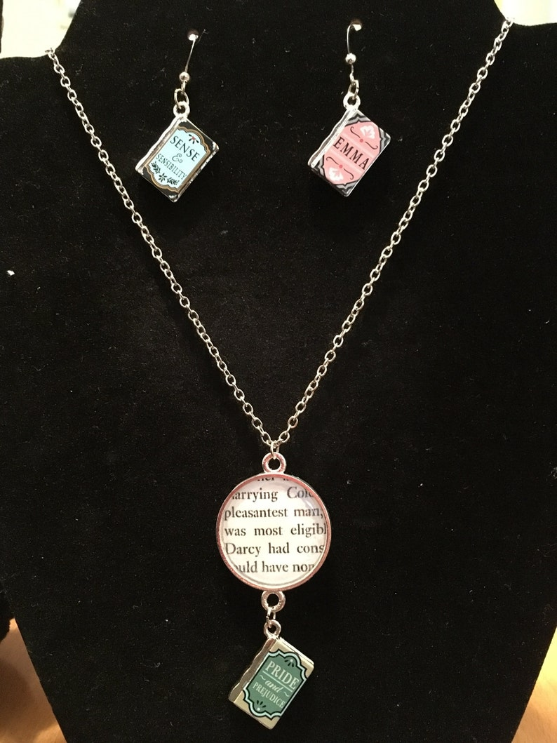Jane Austen Book Charm Necklace and Earrings Jewelry Set
