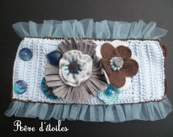 Crocheted in pale blue cotton cuff