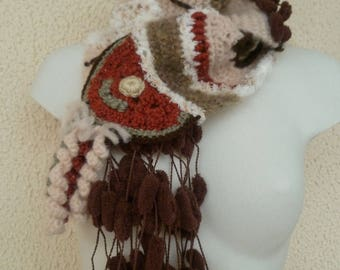 Free-form crochet and knit scarf