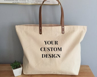 bb2537b26a78 Personalized Custom Design Large Canvas Boat Tote Bag with Leather Handles