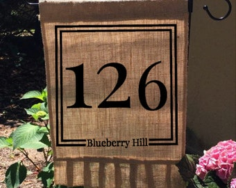 Address Burlap Flag, Garden Flag, Street Address Flag, Ruffled Burlap Sign, Custom Address Flag, House Number Flag, Housewarming Gift