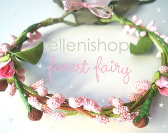 Flower crown, flower girls wreath, with pink roses and forest leaves. Named forest fairy wreaths