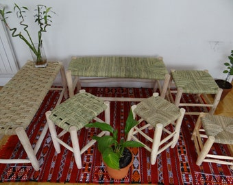 Bench in raw wood 1 m - or TAILOR-MADE- traditional Moroccan handmade stools- Marrakech