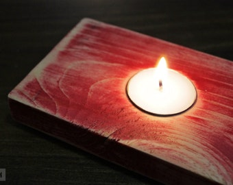 Distressed red wood tealight holder / Rustic candle holder centerpiece, crimson paint shabby chic, wooden tea light retro vintage look