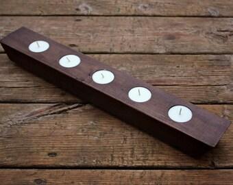 Handmade Rustic wood tealight holder - beautiful rustic centerpiece, minimal modern candle holder, modern farmhouse, simple dark brown