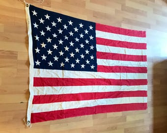 Vintage Large American Flag 3ft X 5ft   50 Stars And 13 Stripes   Red White  And Blue USA Flag   Unites States Of America Flag 100% Cotton