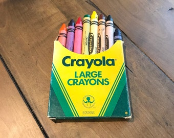 Vintage Large Crayola Crayons 8 Count Different Brilliant Colors Non Toxic Assorted C206 - 1980s Crayola Crayons