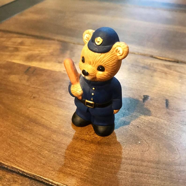 Homco Cop Police Teddy Bear Animal Figure Figurine 1406 Porcelain Home Decor