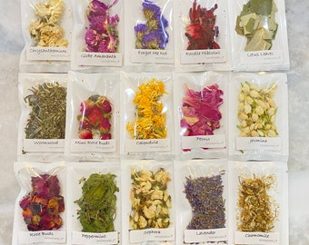 Dried Flower Sample Size Pouches for Tea, Crafts, Soap, Perfume, Lavender, Rose, Jasmine, Star Anise, Chamomile, Peppermint, WoodWell® Shop