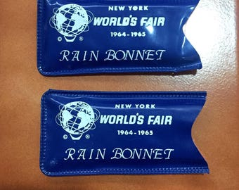 ON SALE RARE 2 New York World's Fair Memorabilia 1964-1965 Rain Bonnett - World Fair Collectibles