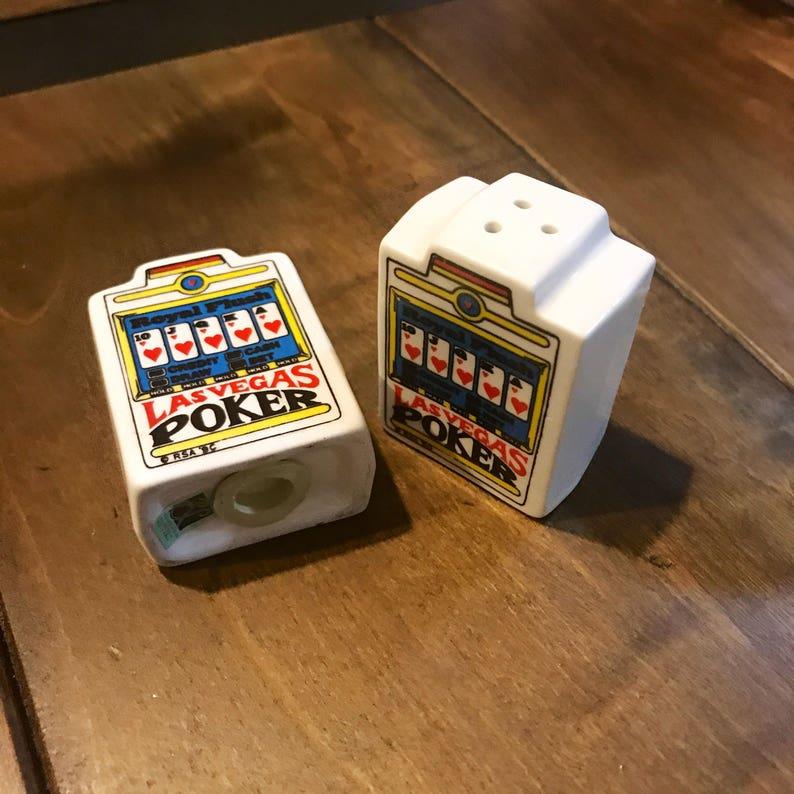 Poker Cards Salt and Pepper Shakers Vintage Las Vegas Poker Salt and Pepper Shakers Vintage Small Salt and Pepper