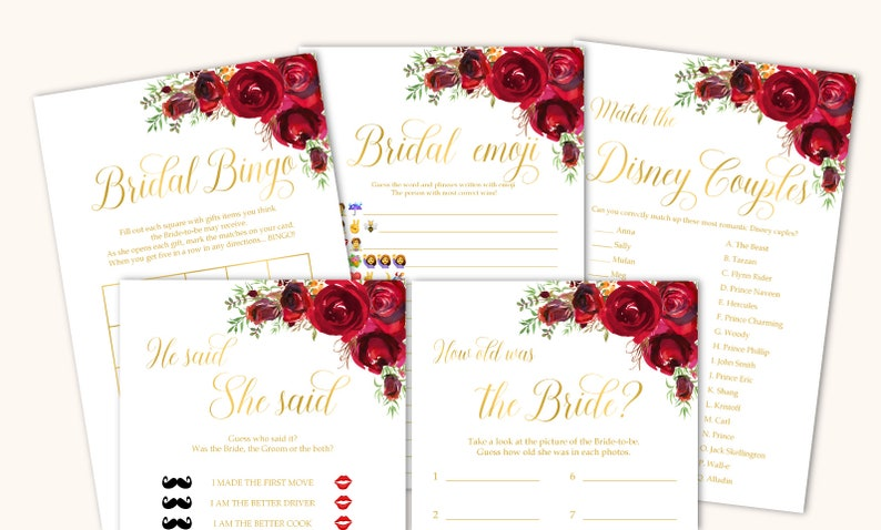 Bridal Shower games bundle Bridal Shower games package Red roses Bridal Shower games bundle gold Bridal shower games printable games set,16