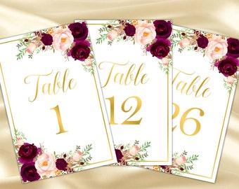 Burgundy table numbers printable Marsala table numbers Gold table numbers printable Marsala wedding table numbers wedding decor wedding,61c