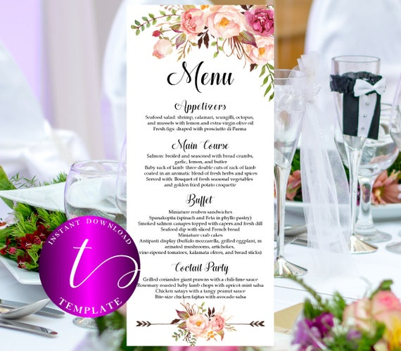 floral wedding menus template printable boho wedding menus etsy
