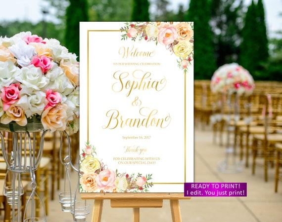 Blumen Hochzeit Willkommene Zeichen Dass Druckbare Orange Etsy