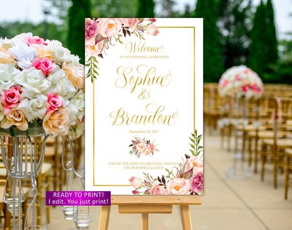 Hochzeit Begrüßung Zeichen Bedruckbar Floralen Hochzeits Trauerzeichen Boho Gold Willkommen Hochzeits Zeichen Zeichen Hochzeit Zeichen