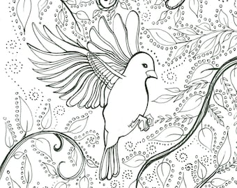 Flying bird coloring sheet