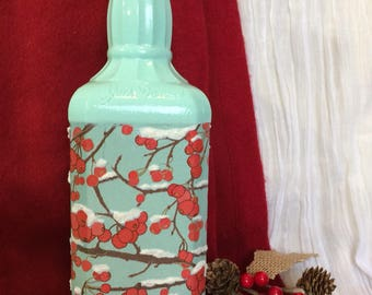 Winter berries bottle art.