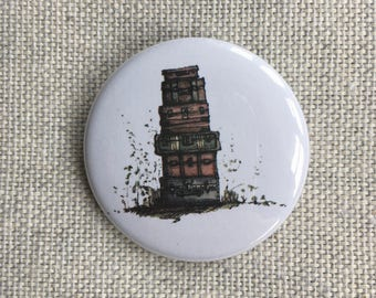 Suitcases. Pin-back button badge