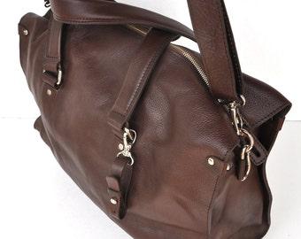 Genuinely brown Leather Weekend Bag, normally  USA 298 now USA 198  Handmade Italian Leather Travel Bag, Leather Gym Bag , Christmas gift
