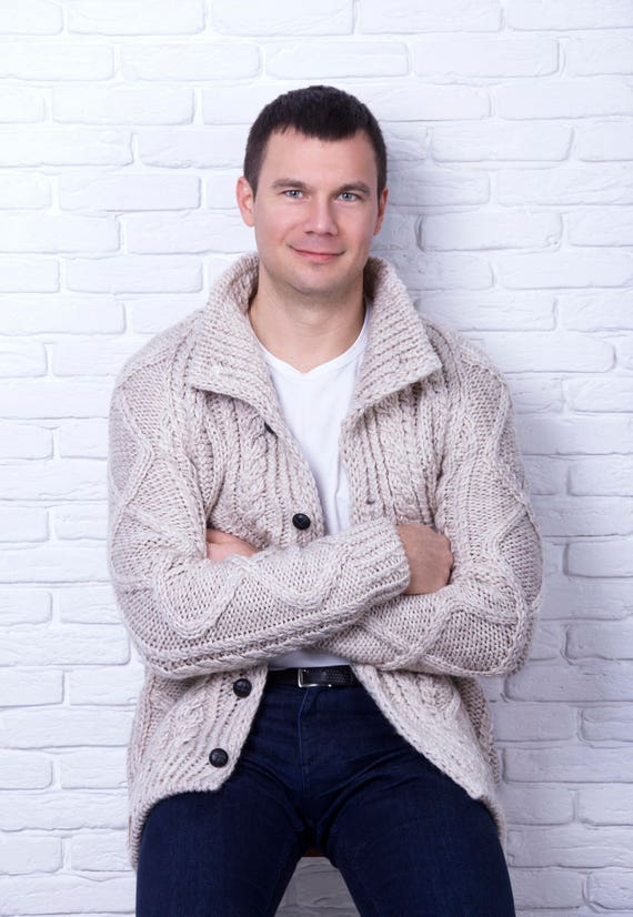 Custom men's cable knit cardigan sweater, aran style replica hand crafted cardigan sweater