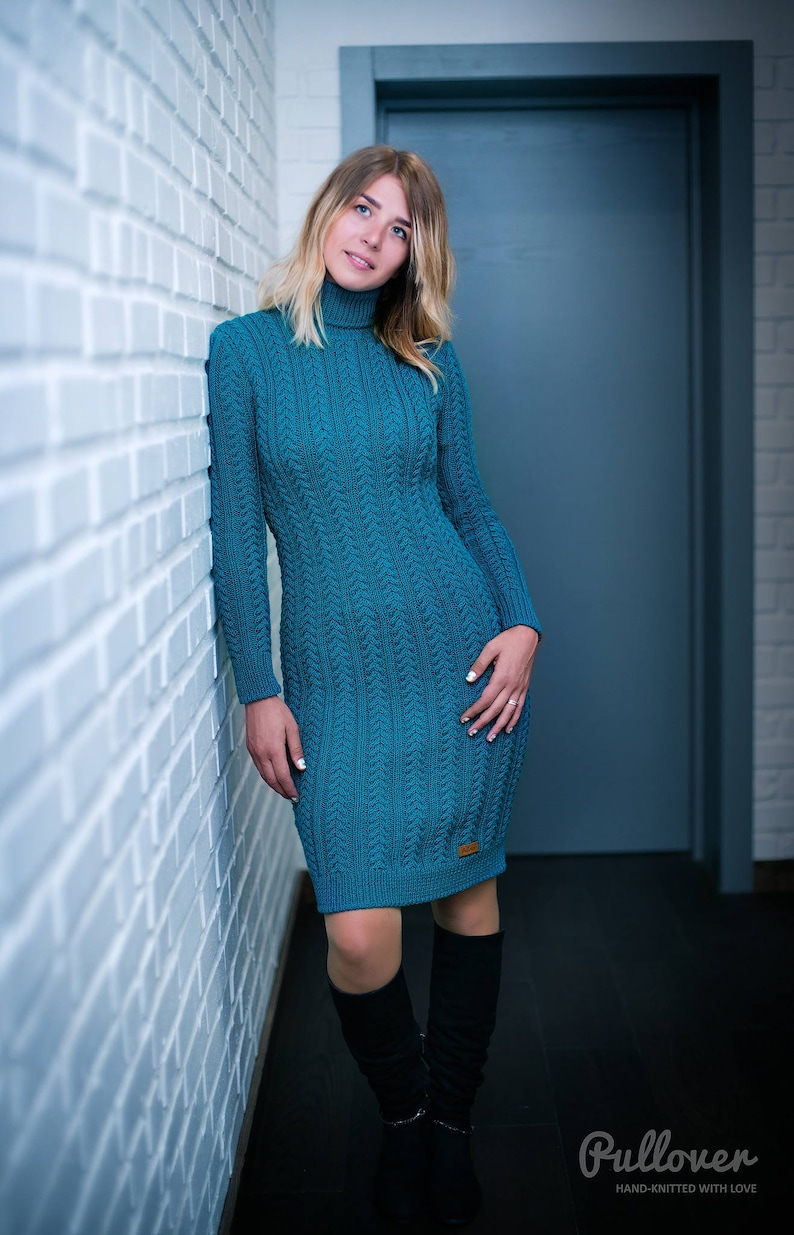 217b35f5ac Hand knit aran style dress merino wool cable dress long