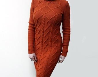 Hand knit dress, merino wool cable dress, long sleeves knitted dress, turtleneck dress, made to order, custom knitting, aran style, bespoke