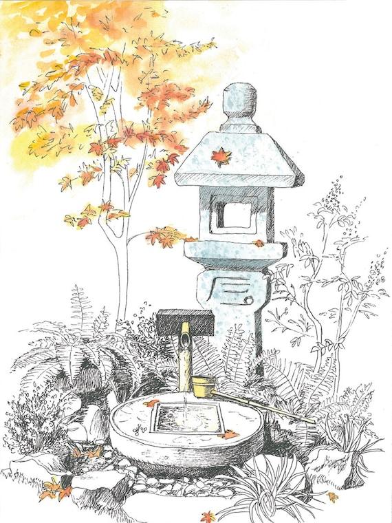 Japanese Garden Original Art Work Sketch For Gardener Etsy